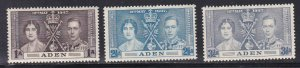 Aden # 13-15, 1937 Coronation, LH, 1/3 Cat.