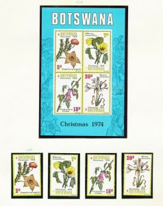 BOTSWANA - # 128-131 & 131a - VFMNH set & S/S - Christmas & flowers - 1974