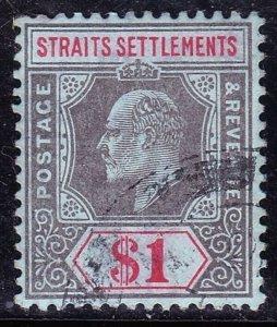 MALAYA STRAITS SETTLEMENTS 1910 KEVII $1 Black & Red/Blue SG165 VFU