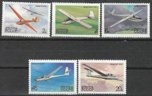 Stamp Russia USSR SC 5118-22 Set 1983 Gliders type of 1982 Airplanes Soviet MNH