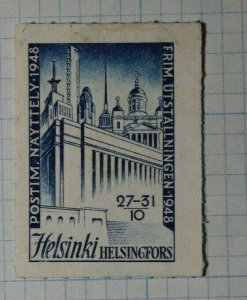 Finland Philately Exhibition 1948 Helsinki Philatelic Souvenir Ad Label
