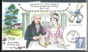 USA 1994 $2.00 JAMES MADISON Sc 2875a on COLLINS HANDPAINTED FDC