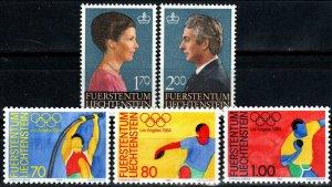 Liechtenstein #784-6, 799-800 MNH CV $5.80 (X9742)