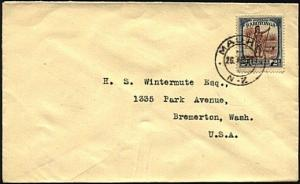 COOK IS 1931 2½d on cover to USA - scarce MAUKE / N.Z. cds.................20212