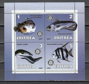 Eritrea, 2001 Cinderella issue. Fish on a sheet of 4.