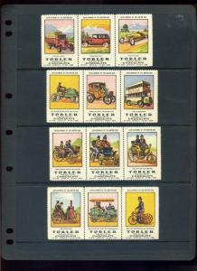 12 VINTAGE TOBLER CHOCOLATE DEVELOPMENT MOTOR CAR HISTORIC POSTER STAMPS (L1018)