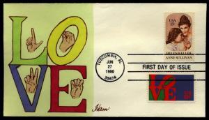 US Scott 1824 & 1475  Helen Keller  & LOVE stamp Ham Hamilton Hand painted FDC