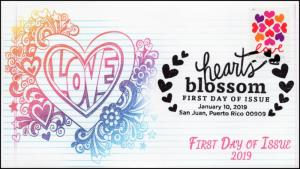 19-005, 2019, SC 5339, Hearts Blossom, Pictorial  Postmark, FDC