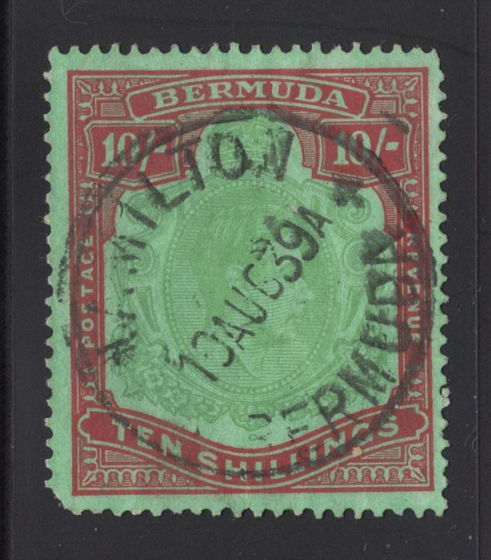 Bermuda #126b Red & Green, green - 10 Shillings - Perf. 14 - Dated Cancel