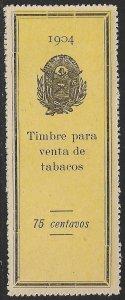 EL SALVADOR 1904 75c ARMS Tobacco Sales Tax Revenue Ross 177 MNGAI