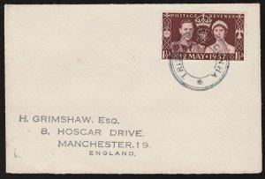 TRISTAN DA CUNHA : 1929 Cover franked GB Coronation 1½d type V cachet in black.