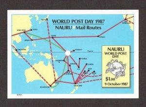 Nauru   #339   MNH  1987   sheet UPU   world post day