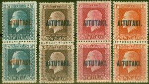 Aitutaki 1917-18 set of 4 Vertical Pairs SG15b-18b Fine Mtd Mint