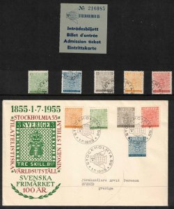 Sweden - Stockholmia 1955 FDC + canceled set CV approx £42.50 ($54.50)