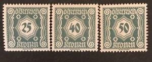 Austria 1920-21 #J111-13, MNH, CV $.75