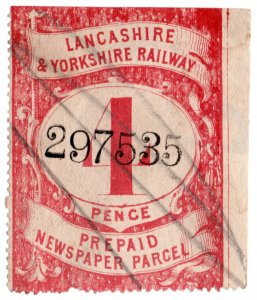 (I.B) Lancashire & Yorkshire Railway : Prepaid Newspaper Parcel 4d