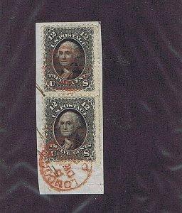 SC# 69 VERTICAL PAIR, USED ON PIECE, 12C WASHINGTON 1861, RED CANCEL & POSTMARK
