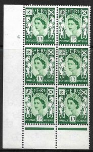 Sg XS22b Variety 9d Scotland Cream Cyl 4 No Dot perf B(I/P) UNMOUNTED MINT