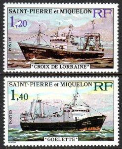 St Pierre & Miquelon 451-452,MNH.Fishing Vessels.Croix de Lorraine,Goelette,1976