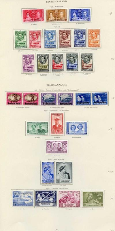 Collection of Bechuanaland KGVI on leaves cat 158.50 pounds
