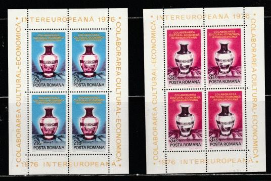 ROMANIA-SC#2620-21-Blocks-Inter European,Economic-Cultural Cooperation,1976.