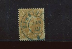 Scott 67 Jefferson Used Stamp with Bold Blue Cincinnati Dated CCL (Stock 67-1A)