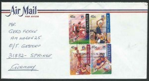 AUSTRALIA 1996 cover to Germany - nice franking - Sydney pictorial pmk.....14776