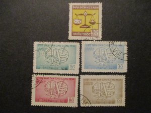 Vietnam Stamp Lot S#J14 (1v) & O17-20 (4v) Trade Union Congress all Used f