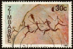 Zimbabwe 451 - Used - 30c Rock Paintings / Hunters (1982) (cv $2.75)