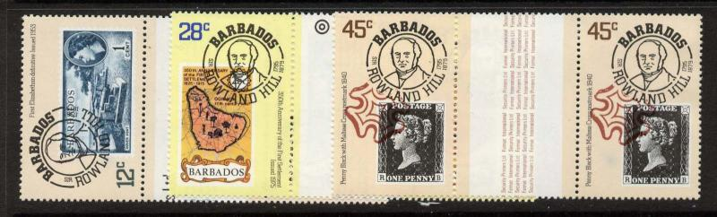 Barbados 491-3 Gutter Pairs MNH Stamp on Stamp, Rowland Hill, Map