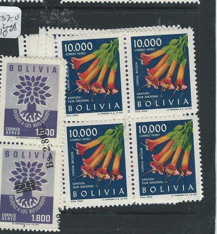 BOLIVIA (P0606B)A/M SCC237-240 FLOWERS BL OF 4,  2 NH