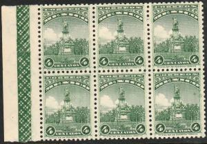 MEXICO 689, 4cents, COLUMBUS MONUMENT. BLOCK OF SIX. Mint, NH. (58)