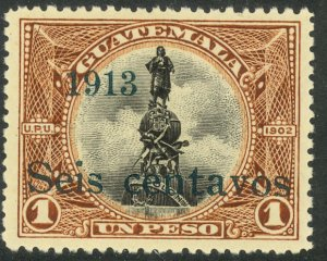 GUATEMALA 1913 6c on 1p Christopher Columbus Monument Issue Sc 152 MLH