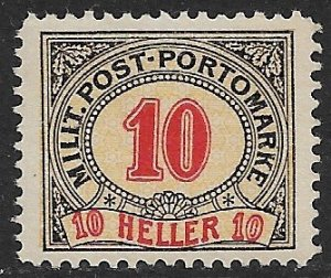 BOSNIA AND HERZEGOVINA 1904 10h Perf.12 1/2 Postage Due Sc J9 MH