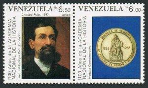 Venezuela 1428-1429a.MNH.Michel 2568-2569. National History Academy,1989.Art.