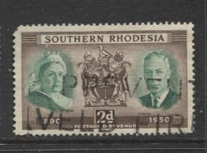 Southern Rhodesia- Scott 73 -KGVI & QV - 1950 - Used - Single 2d Stamp