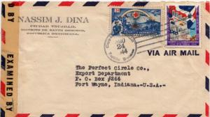 Dominican Republic 3c Red Cross and 10c Centenary of Independence 1944 Ciudad...