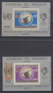 PARAGUAY 1965 POPE PAUL VI Sc 910a SOUVENIR SHEETS REGULAR & CHANGED COLOR CV$55