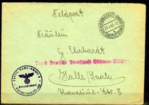 1942 Fieldpost Bohemia & Moravia Deutsche Dienstpost Boehmen & Maehren