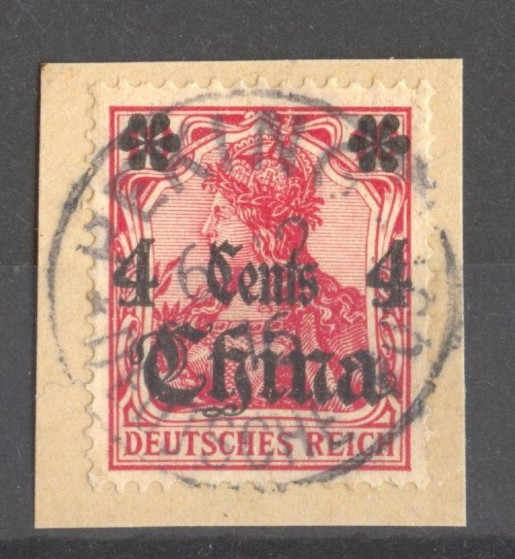 China, German Offices, 1916 War Date on 10 Pfg. Germania on small piece, RARE !!