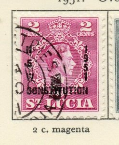 St Lucia 1951 GVI Early Issue Fine Used 2c. Optd NW-154992