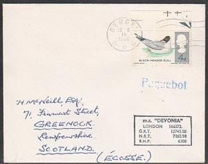 GB NORWAY 1966 MS DEVONIA  ship cover, BERGEN PAQUEBOT.....................1051