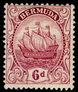 BERMUDA SG50a, 6d pale claret, LH MINT. Cat £11.