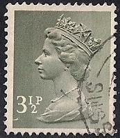 Great Britain #628 3 1/2P Queen Elizabeth 2, Stamp used F-VF