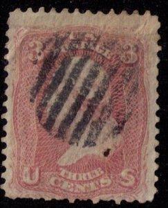 US Sc #65 3c Rose Used Fine