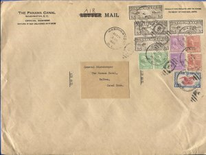 US 1940 PREXIES (1c, 10c, 12c, 50c) + Airmails, $1.50 rate, DC to CANAL ZONE