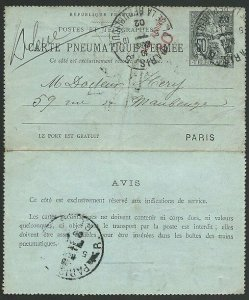 FRANCE 1902 50c PNEUMATIQUE Post lettercard used..........................47853
