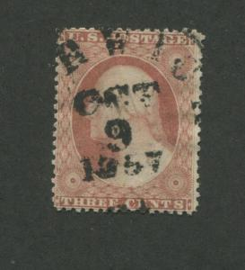 1857 United States Postage Stamp #25A Used F/VF Position 49L2L Certified