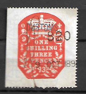 GB FISCAL REVENUE TAX STAMPS QV 1893, 1sh3p