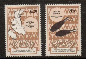 NORFOLK ISLAND SG560/1 1993 BICENTENARY OF CONTACT WITH NEW ZEALAND MNH